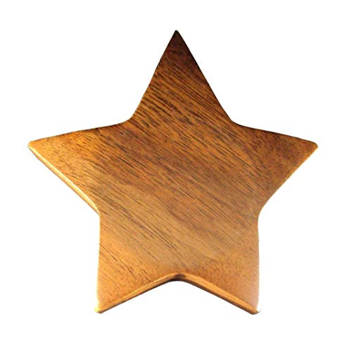 Star Silver Paperweight (Executive Woodessen Paperweight - Solid Walnut Start Shape Paperweight with Gift Box.)