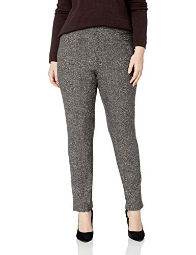 Briggs New York Women's Super Stretch Millennium Welt Pocket Pull on Career Pant, Black/White Speckle, 16 -