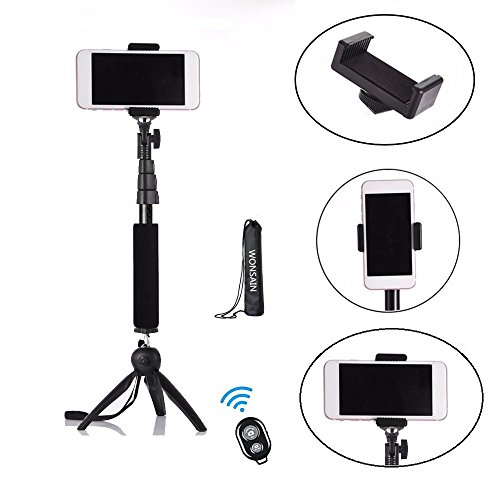 Bluetooth Selfie Stick Tripod, Wonsain Extendable Monopod with Tripod Stand for Digital Cameras and GoPro, and Wireless Shutter Remote for iPhone/Samsung/Other Android Phones (Bluetooth Digital Cameras)