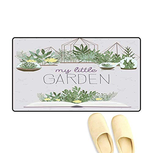 doormatLovely Illustration Poster with Terrarium Plants and Book Outdoor Doormat 40x60cm