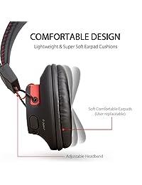 Avantree Audition - Auriculares inalámbricos Bluetooth con cable de 40 horas con micrófono, aptX HiFi, extra cómodos y ligeros, NFC, estéreo para PC y teléfono móvil portátil