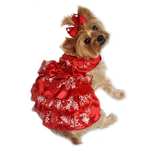 """Doggie Design Red Satin with White and Gold Organza Multi Layered Party Harness Dress with matching Headpiece and Leash in Size Small (Chest 13-16"""" Neck 10-13"""" - Pets weighting 6-10lbs)"""