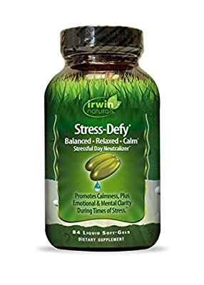 Irwin Naturals Stress Defy, Balanced, Relaxed, Calm Soft-Gels, 84-Count Bottle