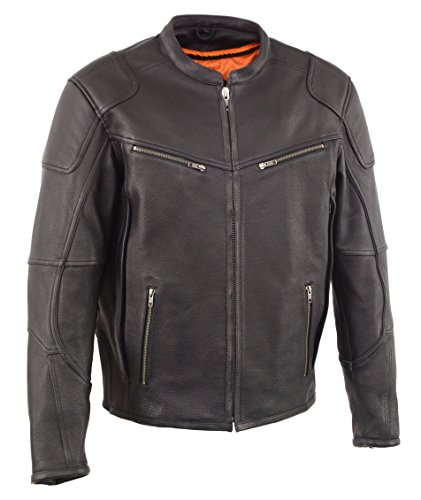 Milwaukee Leather Men's Vented Scooter Jacket with Cool Tec Leather(Black, Large), 1 Pack