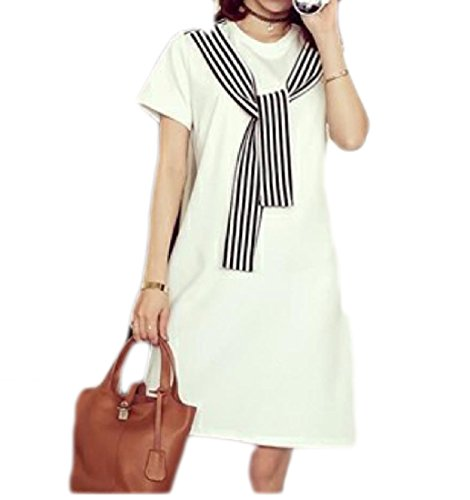 Comfy-Women Bottoming Shirt Short Sleeve Stripe Splice Cozy Tunic Dress White 2XL