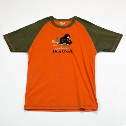 Lazy One Cotton Knit (Up a Creek Bear Beaver Canoe LazyOne Unisex Tee Cotton Knit lazy unisex top: S chest 34-36)