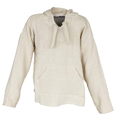 Funny Guy Mugs Premium Baja Hoodie Sweatshirt Pullover Jerga Poncho (Natural, ()
