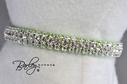 Heart Preciosa - Kiwi Lime Green Heart Charm Preciosa® Rhinestone Cat Safety Collar - 3 Row Crystal 3/8