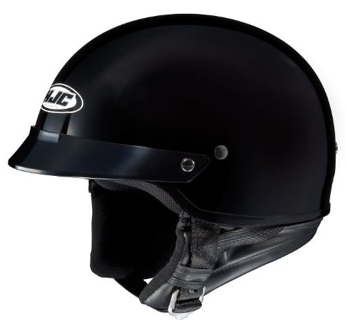 HJC CS-2N Motorcycle Half-Helmet (Black, Medium)