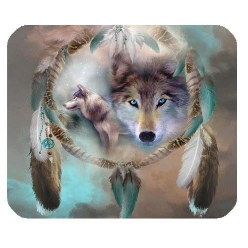 Best Cool Wolf Dream Catcher Eco Friendly Cloth with Neoprene Rubber Luxlady Mouse Pad Desktop Mousepad Laptop Mousepads Comfortable Computer Mouse Mat