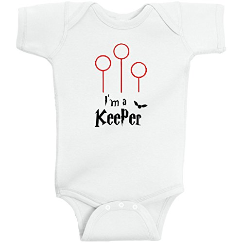 250b9009c5f I m A Keeper Funny Harry Potter Romper Wizard by BeeGeeTees (6 Months