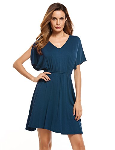 Zeagoo Womens Swing Tunic Dress Loose Fit Comfy Flattering T Shirt Dress,Navy - Dress Cotton Surplice