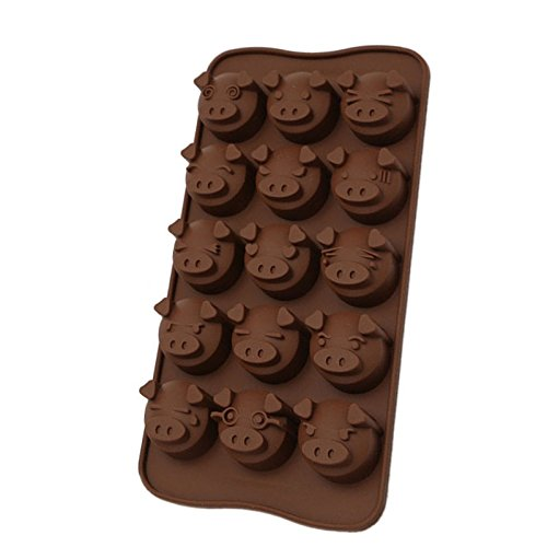 2 Pcs Piggy Shape Chocolate Mold 15 Cups Cake Mould Silicone Diy Cooks Evenly ,cools Quickly Great For Christmas, Parties, Wedding, Birthday, Celebrations, Etc. (Mickey Halloween Party 2017 Map)