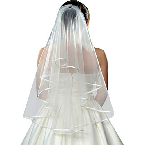 - ℱLOVESOOℱ Bridal Knot Wedding Veil, Romantic White Double Ribbon Edge Center Cascade Bridal Wedding Veils with Combs