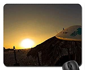 Surfers Sundown Mouse Pad, Mousepad (Beaches Mouse Pad, Watercolor style) by mcsharks