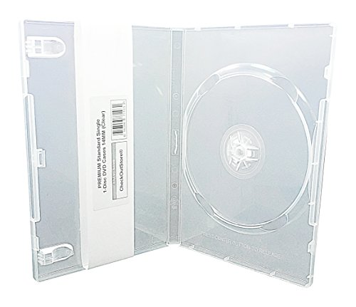 CheckOutStore (100) Premium Standard Single 1-Disc DVD Cases 14mm (Clear) ()