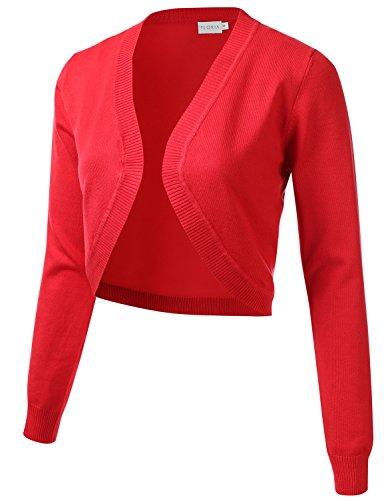 FLORIA Womens Cropped Open Front Bolero Shrug Long Sleeve Knit Cardigan (S-XL)