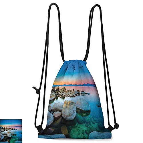 (Personality backpack Lake Tahoe California America Decor Collection Vibrant Seascape Beach Stones Sunset View Water Reflection W14