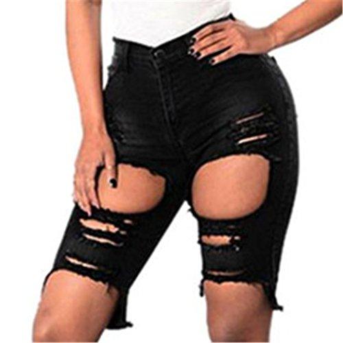 haoricu Women Shorts, 2017 New Women Sexy Hole Elastic Slim Fit Denim Ripped Jeans Pants (XS, Black)