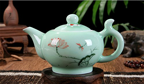 DELIFUR(TM) Celadon Handcrafted Porcelain Tea Set Lotus Theme Porcelain Tea Pot Covered Teacup Gongdao Cup From China (Tea pot)