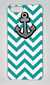 Anchor in Green Stripe Customized Hard Shell Transparent iphone 5/5s Case By Custom Service Your Perfect Choice