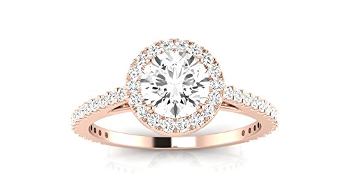 Rose Gold Classic Halo Style Pave Set Round Shape Diamond Engagement Ring with a 3/4 Ct Forever Brilliant Round Moissanite Center ()