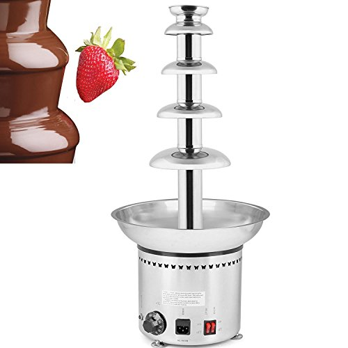 VEVOR Commercial Chocolate Fountain Machine 5Tiers 68cm/27inch Stainless Steel Auto Temperature Control 86-302℉ for Wedding Parties, 5 Tiers