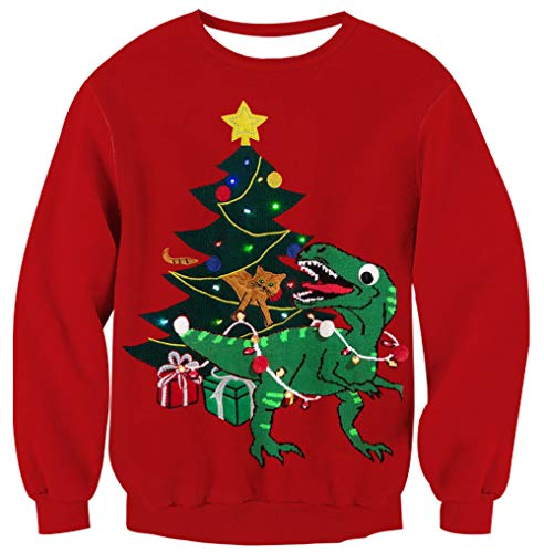 UNICOMIDEA Unisex 3D Christmas Dinosaur Graphic Printing Sweater Ugly Xmas Pullover Sweatshirt Costume for Women and Ladies Small]()
