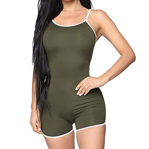(QIQIU Womens Solid Sleeveless Straps Playsuit Sexy Bodycon Sport Slim Fit Halter Short Summer Jumpsuit Playsuit)