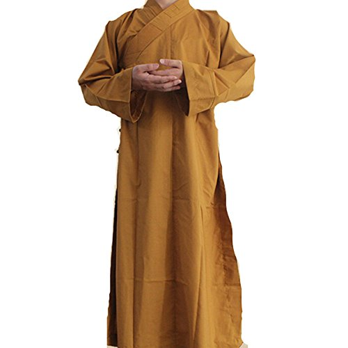 Long Cotton Kung Fu Shaolin Monk Robe Lay Master Zen Buddhist Meditation Gown XL