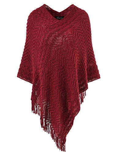Ferand Women's Elegant Cozy Poncho Sweater with Chevron Stripes and Fringes, One Size, ()