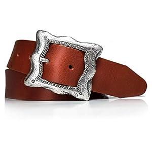 almela - Cinturón Mujer - Piel legítima - 4 cm de ancho - Cuero - Hebilla plata vieja Vintage - Vaqueros, Vestidos… | DeHippies.com