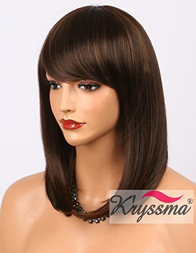 Cheap Wigs With Bangs (K'ryssma Bob Wig With Bangs - Natural Looking Brown #4 Synthetic Wigs with Highlights #30 Cheap None Lace Short Hair Wigs for Women Full Machine Made 14 inch (M03000))