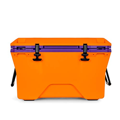 Camco Currituck Orange and Purple 30 Quart Cooler - Rugged Exterior Made for Camping, Hunting, Fishing and Tailgating - Comes with Cooler Basket (51756)