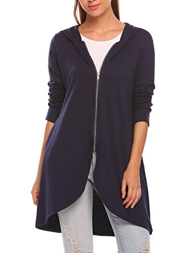 - Zeagoo Women's Casual Light Oversized Zip Hoodie Sweatshirt Jacket Navy Blue