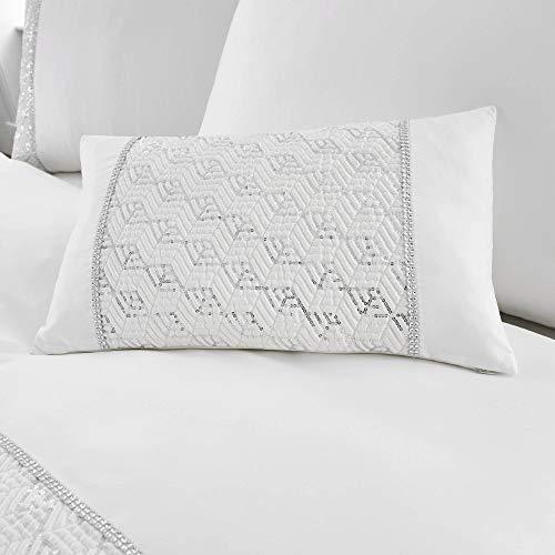 Happy Linen Company Sequin Diamante Trim Luxury White Boudoir Cushion ()