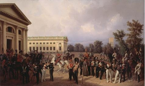 The High Quality Polyster Canvas Of Oil Painting 'Franz Kruger,The Russian Guard In Tsarskoye Selo In 1832,1841' ,size: 20x34 Inch / 51x85 Cm ,this Replica Art DecorativeCanvas Prints Is Fit For Basement Decoration And Home Decor And Gifts