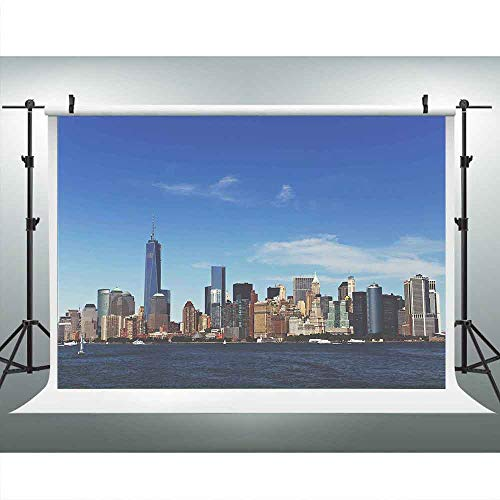 LUCKSTY NYC Skyline Realistic Backdrop for Photography 9x6ft Manhattan Hudson River Background New-York Skyscrapers Banners Theme Party Photo Booth Props LUZZ009 Photocall ()