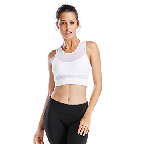 Move With You Women's High Impact Support Crop Tank Tops Yoga Sports (Athletic Mesh Tank Top)