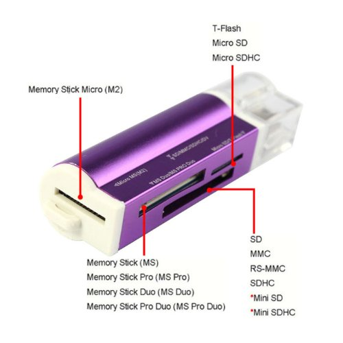 Bluesky USB 2.0 All in 1 Multi Memory Card Reader Supporting Micro Sd Sdhc Ms Tf Sd M2 MMC (Purple)