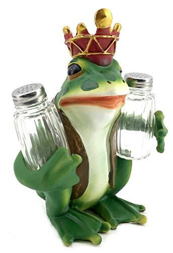 - Bellaa 29356 Frog Prince Glass Salt and Pepper Shaker Holder