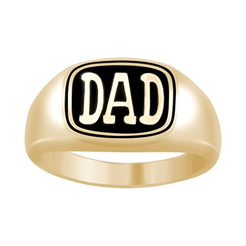 ArtCarved Dad 10k Yellow Gold Men's Father Signet Ring, Size (Artcarved Yellow Ring)