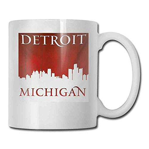 Porcelain Mugs for Coffee Detroit Michigan City Silhouette Red and White Composition with Classical Typography Color Elegant 11 oz Red and White
