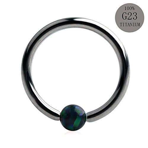 23 Ring (Ruifan 1PC 16G Grade 23 (G23) Titanium Green Synthetic Opal Captive Bead Ring Nose Septum Hoop Piercing Jewelry 8mm)
