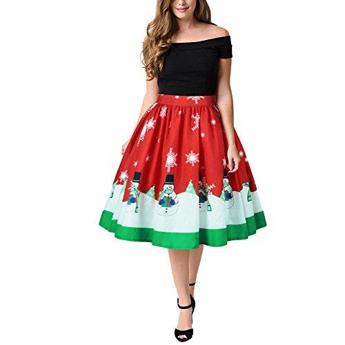 Weihnachtskleid Damen Skirt ALinie Rock Kleid mit Weihnachtsmann ...