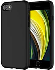 JETech Silicone Case for iPhone SE 2020, iPhone 8 and iPhone 7, 4.7-Inch, Silky-Soft Touch Full-Body Protective Case, Shockproof Cover with Microfiber Lining, Black