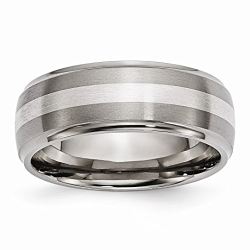 ICE CARATS Titanium Ridged Edge 925 Sterling Silver Inlay 8mm Brushed/Wedding Ring Band Size 13.50 Precious Metal Fine Jewelry Ideal Gifts For Women Gift Set From Heart - New Sterling Silver Ridged Band