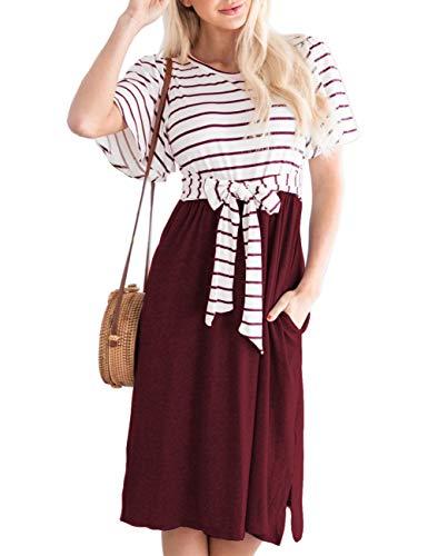 - MEROKEETY Women's Summer Striped Ruffle Sleeves Tie Waist Pockets Casual Swing Midi Dress Wine