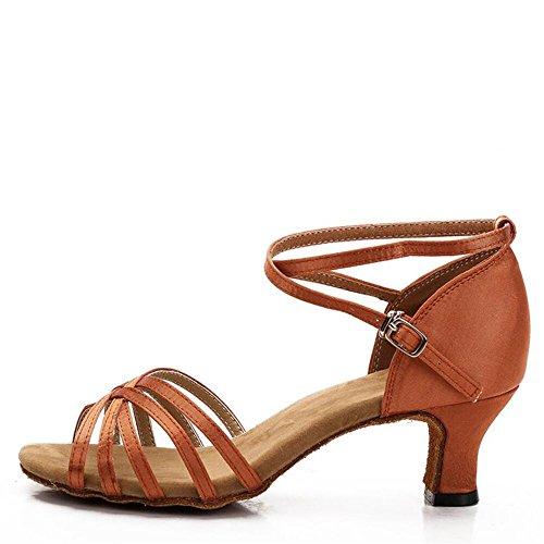 América Zapatos De Baile Zapatos De Baile Femenina Adulta Fondo Blando Brown 5.5cm