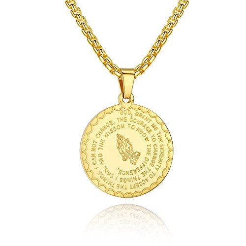Molike Bible Verse Prayer Necklace Christian Jewelry Stainless Steel Coin Pendant Necklaces for Men Women (Yellow)